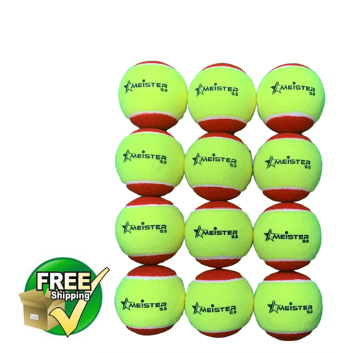 12 x STAGE 3 MEISTER TENNIS BALLS RED 75mm